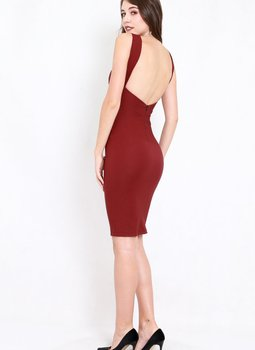 Low Back Midi Dress (Maroon)