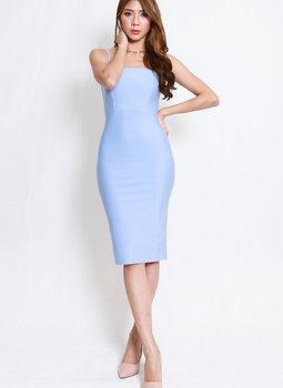 *Luxe* Classic Midi Spag Dress V2 (Sky Blue)