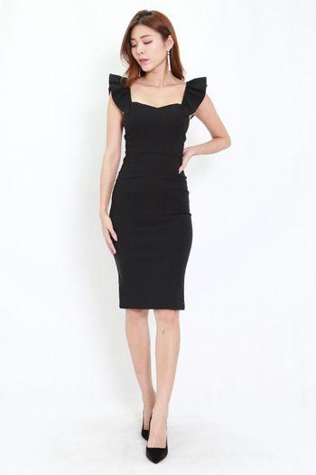 2way Flutter Sleeve Midi Dress (Black)