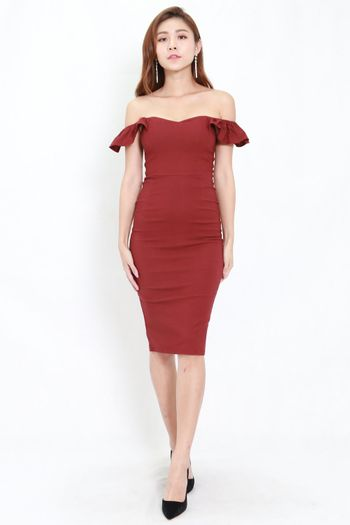 2way Flutter Sleeve Midi Dress (Maroon)