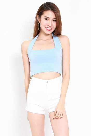 Adrianna Halter Crop Top (Blue)