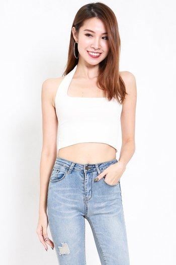 Adrianna Halter Crop Top (White)