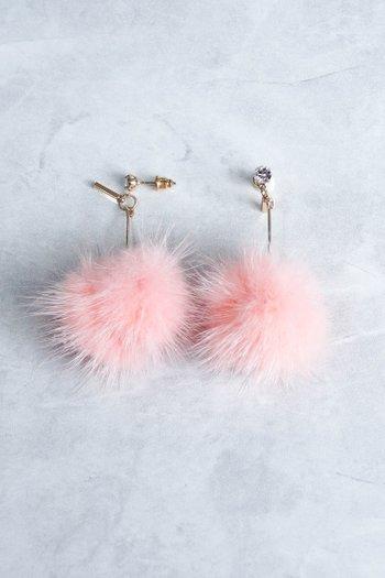 Alena Rhinestone Fur Earrings (Pink)