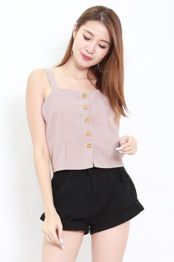 Bessie Buttons Gingham Top (Brown)