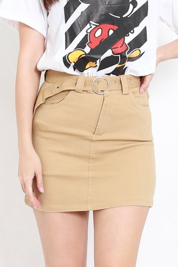 Buckle Denim Skirt (Khaki)