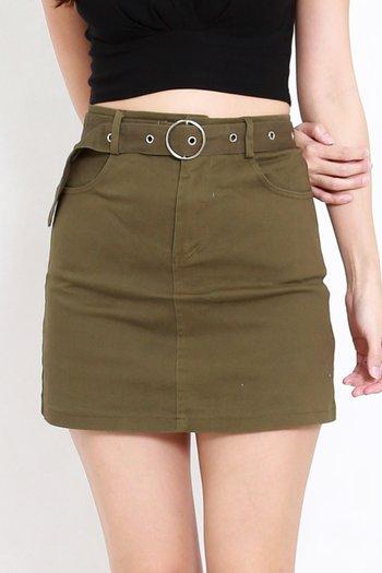 Buckle Denim Skirt (Olive)