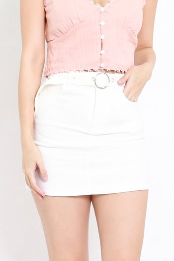 Buckle Denim Skirt (White)
