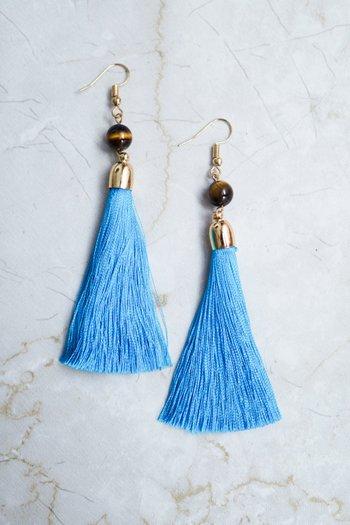Charlotte Tassel Earring (Sky Blue)