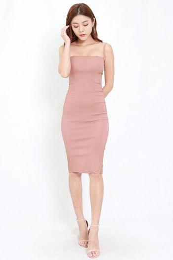 Classic Midi Spag Dress (Tan-Nude)