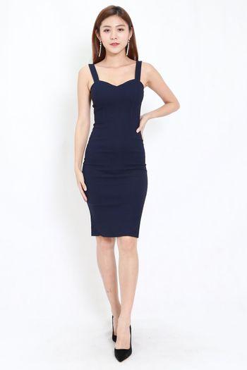Classic Sweetheart Midi Dress (Navy)