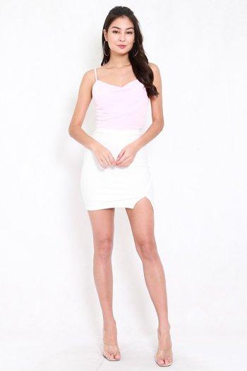 Cowl Neck Crop Spag (Pale Pink)