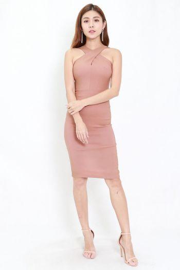 Cross Front Midi Dress (Tan-Nude)