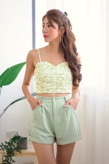 Sweetheart Floral Ruch Top (Dafodill)