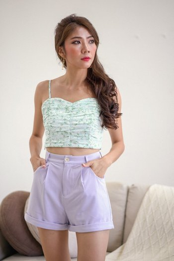 Sweetheart Floral Ruch Top (Baby Blue)