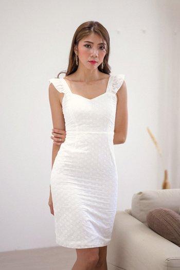 Ruffle Sleeve Eyelet Dress (White)
