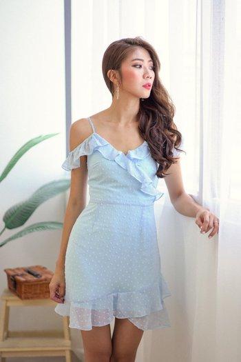 Swiss Dot Off Shoulder Dress (Baby Blue)