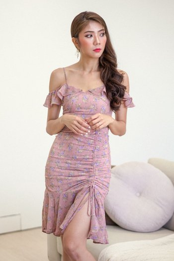 Yara Floral Off Shoulder Dress (Rose)