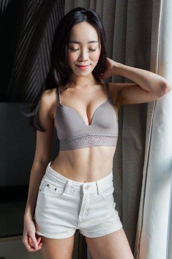 Lace Detail T-Shirt Bra (Grey)