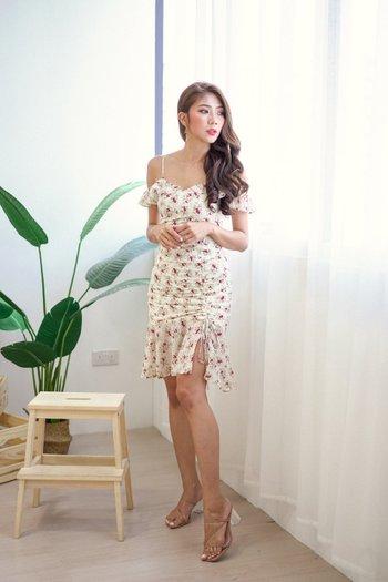 Yara Floral Off Shoulder Dress (Off-White)