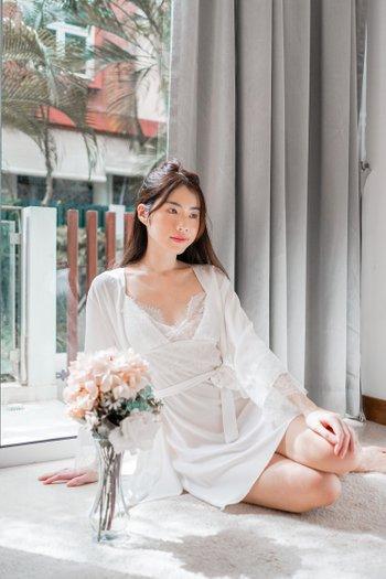 Lanny Lace Sleep Set (White)