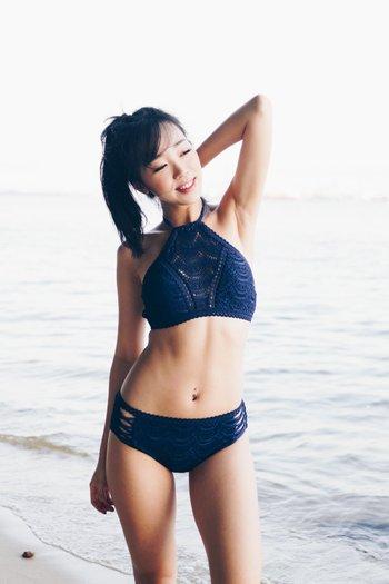 Rila Crochet High Neck Bikini (Navy)