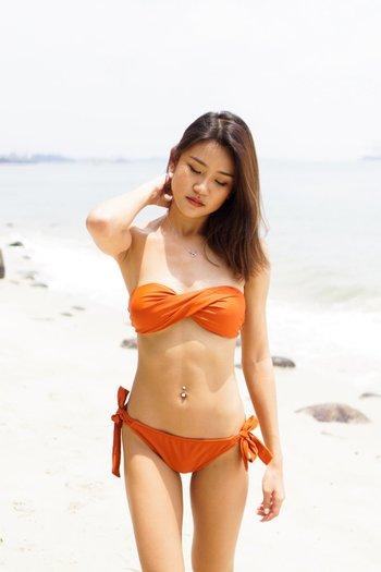 Bandeau Twist Bikini (Orange)