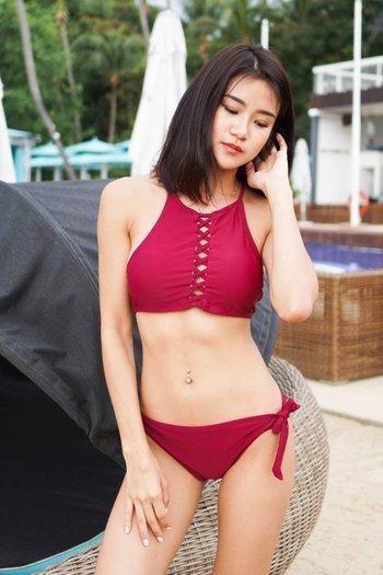 Criss Cross Tie Around Bikini (Maroon)