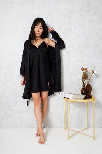 Rosella Lace Sleep Dress Set (Black)