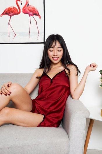 Rosella Lace Sleep Dress Set (Maroon)