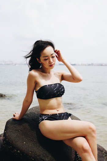 Tie Back Bandeau Bikini (Black Marble)