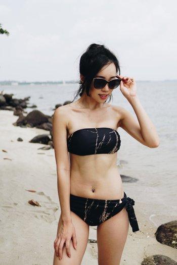 Tie Back Bandeau Bikini (Black Gold Marble)
