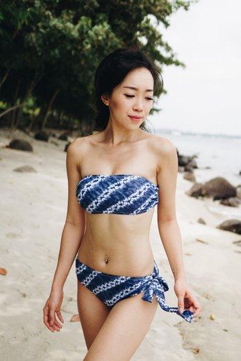 Tie Back Bandeau Bikini (Blue Dais)