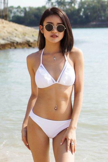 Mesh Ruffle Triangle Bikini (White)