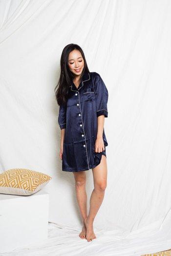 Satin Buttons Sleep Dress (Navy)