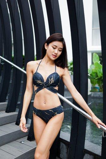 Cross Wrap Bikini (Gold Black Marble)