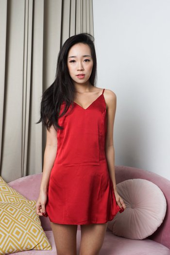Basic V Neck Sleep Dress (Red)