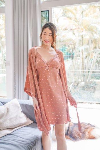 Ribbon Polkadot Loungewear Dress Set (Dusty Pink)