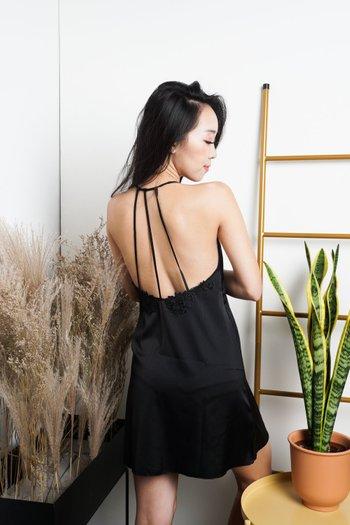 Triple Strap Back Sleep Dress (Black)