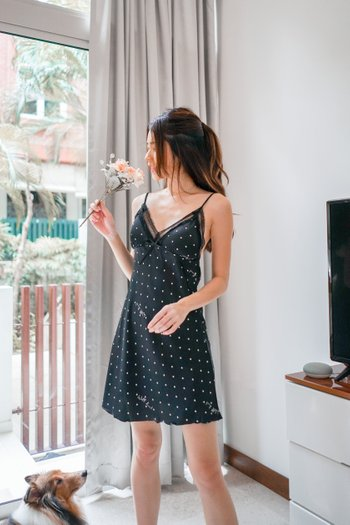 Ribbon Polkadot Loungewear Dress Set (Black)