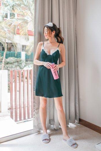 Sarah Lace V Sleep Dress (Emerald)
