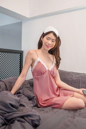 Sarah Lace V Sleep Dress (Blush)