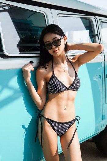 Triangle Bikini (Black Polka)