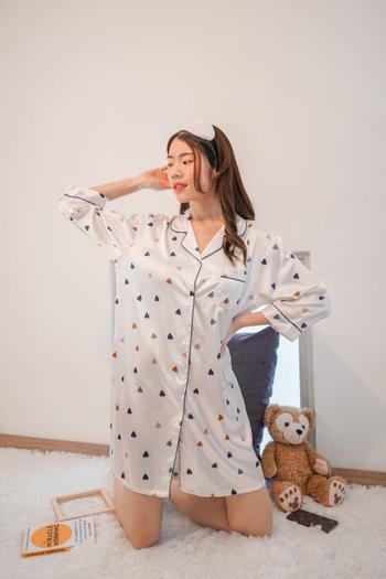 Flutter Hearts Sleep Dress (Multi White)