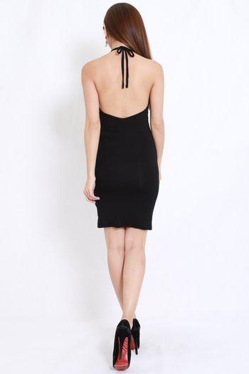 Cotton Halter Midi Dress (Black)