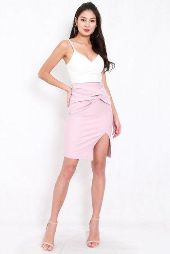 *Premium* Twist Knot Midi Skirt (Light Pink)