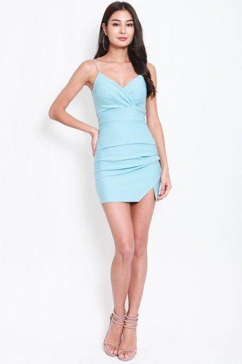 *Premium* Thin Strap Overlap Slit Dress (Tiffany Blue)