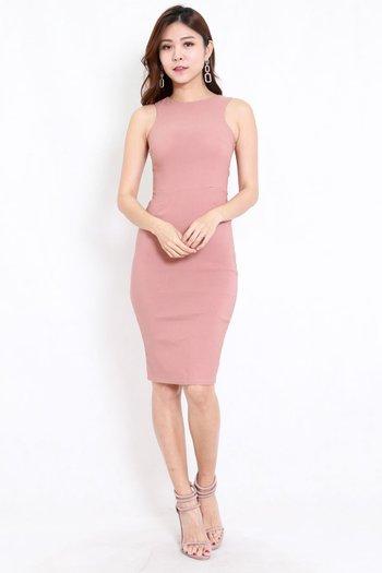 Kathy Midi Dress (Tan-Nude)
