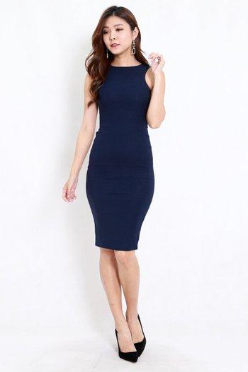 Kathy Midi Dress (Navy)