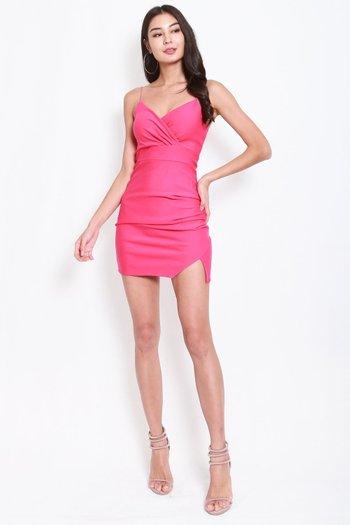*Premium* Thin Strap Overlap Slit Dress (Barbie Pink)