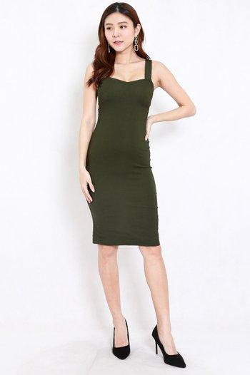 Kylie Open Back Midi Dress (Olive)